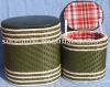 Decorative hand-woven storage ottoman &stool with leather lids