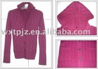 knitwear,women's cardigan with two pocket,women's cable sweater with hood