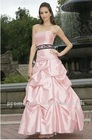 A-Line Strapless Pick Up Skirt Ankle Length Taffeta Bridesmaid Dress BD091