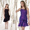 Sleeveless Taffeta knee-length Dress with vertically ruched Empire bust line Cute Children Pary Dresses GD108