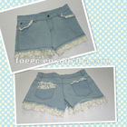 2012 newest girl/lady's lace denim shorts