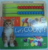 kids math educational book with wooden counting farme