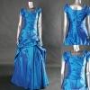 Real photo cheap modest beaded taffeta evening gown
