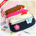 Korean style kids' flower plush pencil bag