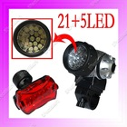 21 LED Bicycle Front Lamp+ 5 LED Tail Rear Light