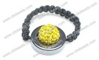 Lenon Yellow Crystal Pave Argil Beads Shamballa Rings Wholesale