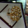 Hot sell finger ring fashion gold finger ring styles More models flower ring with rhinestone and pearl JZ-084