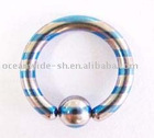 New Stainless Steel 316L Titanium Anodized Blue Laser Etched Captive Ring Body Piercing Jewelry