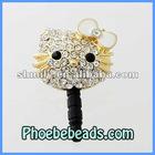 Wholesale Pave Crystal Rhinestone Hello Kitty Earphone Ear Cap Dustproof Jack Plug For Mobile Cellphone Iphone 4 MDP-M06B