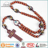 MEDJUGORJE Wood Rope Rosary with Epoxy Saint Images