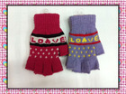 Fashion lady's knitting winter mittens
