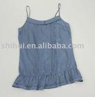 100%cotton voile blue spaghetti strap tank top