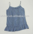 100%cotton voile blue spaghetti strap tank top