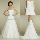 Strapless Swiss Dot Bridal Gown with Ruched Detail and Self Tie Bow on Bodice Fit and Flare Organza Satin Wedding Dress