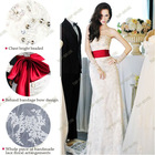 S1209 2013 New European & American Style Strapless Lace Fishtail Bride Red Long Belt Wedding Dresses