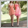 Pink wholesale satin mini peach bridesmaid dresses