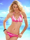 Wella Charming Rainbow White & Rose Gradient Design Halter Bikini Swimwear