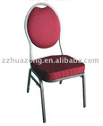 Red fabric comfortable steel dining chair