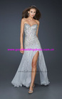 2012 New Arrival Custom Made Sweetheart Strapless Crystals Chiffon Prom Dresses