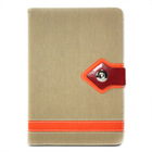 Toothpick Pattern Folio Stand Leather Case for iPad mini Beige