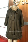 2011 fashionable green polyester cotton womon coat with hood