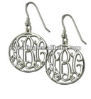 Round Sterling Silver Monogram earring,initial letter earring