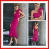2012 Popular One-shoulder Mermaid Chiffn Short Pleated Girl Prom Dress Party Dress MLA-526
