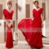 Coniefox Short Sleeves Floor-length Red Crossed Bridesmaid Dress 81253