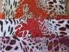 Leopard printed mesh fabric