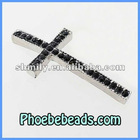 Wholesale Sideways Rhinestone Cross Connector Silver Plated Black Crystal Pave Charms Beads For Handmade Bracelets MC-N05