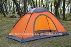 1person single layer army camping tent in orange color