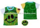 Green cotton T-shirt with smile face pattern