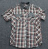 mens 100%cotton yarn dyed checks shirt with short sleeve