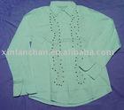 long sleeve beading shirt 100% cotton shirt