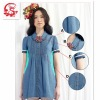 2012summer lady's jeans blouse with lace short sleeve
