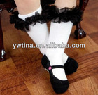 2013 New Arrivals White with Black Chiffon Ruffles Baby Leg Warmers Baby Leggings Baby Socks