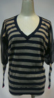 2012 fashion yarn-dyed stripe thin sweater with lace