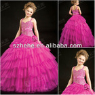 F2415 New Arrival spaghetti strap gorgeous layered puffy skirt shiny beaded fashion kids party wear girl dress
