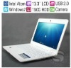 13.3 inch Laptop UMPC for Student/Intel D425 1.8GHz CPU/2GB Memory/320G HDD/Wifi/1.3 Mega Pixels Camera/ Win7 OS