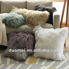 Mongolian lamb fur cushion, leather cushion, cushion cover, pillow