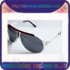 Plastic and metal sunglasses style with frame and smoke lenses, made in China