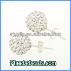Wholesale Glittering 925 Sterling Silver Earrings 10mm Rhinestone Disco Ball Fashion Shamballa Stud Earring SSCE007