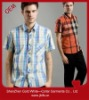 men classic color plaid short sleeve shirt