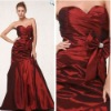 Luxurious A-line Sweetheart Burgundy Satin Free Shipping Prom Dress