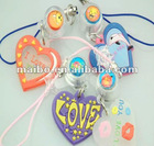 Heart shape PVC mobile phone strap, cell phone strap
