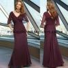 Dark purple V-neckline ruched chiffon short sleeve floor length custom-made mother of the bride dress CWFam4816