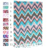 Rectangular zig zag cotton scarves with fringe