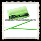 Travelling camping portable plastic chopsticks and spoon and fork set