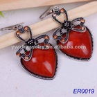 2012 fashion earring jewerly rose red heart earrings