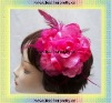 red pink flower brooches headdress for girls and ladies